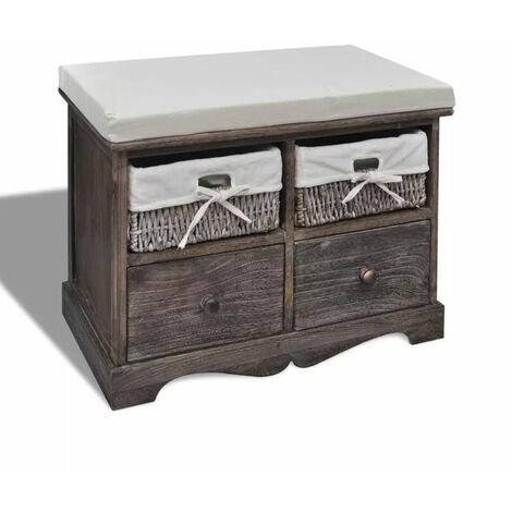 Banc de rangement brun en bois avec 2 paniers de tissage et 2 tiroirs