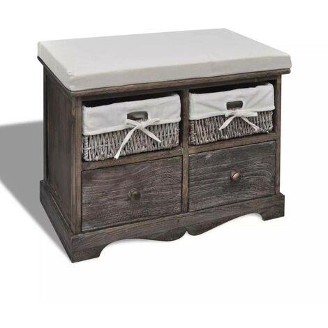 Banc de rangement brun en bois avec 2 paniers de tissage et 2 tiroirs HDV08395
