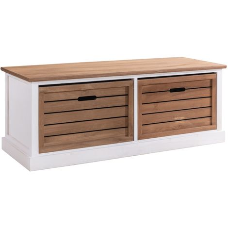 Banc de rangement CORNELIA meuble bas coffre avec 2 caisses, en bois de paulownia blanc et brun style maison de campagne
