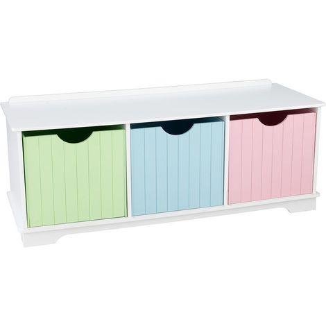 Banc de rangement en bois avec tiroirs pastel