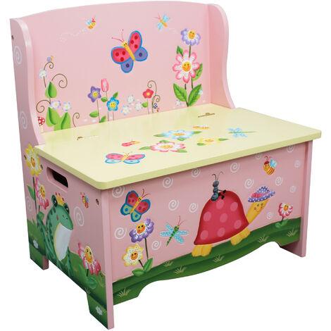 Banc de rangement enfant Magic Garden coffre à jouets bois fille bébé TD-11644A