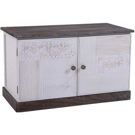 Banc de rangement JUNA meuble à chaussures coffre avec 2 portes, bois de paulownia blanc style vintage ethnique bohême avec gravures