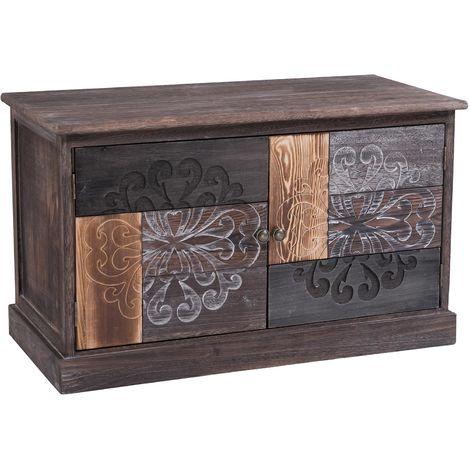 Banc de rangement MARA meuble à chaussures coffre avec 2 portes, en bois de paulownia brun gris style vintage ethnique bohême
