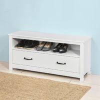 Banc de Rangement Meuble à chaussures Meuble d'Entrée Commode à Chaussures confortable avec tiroir et étagère -Blanc SoBuy® FSR48-W
