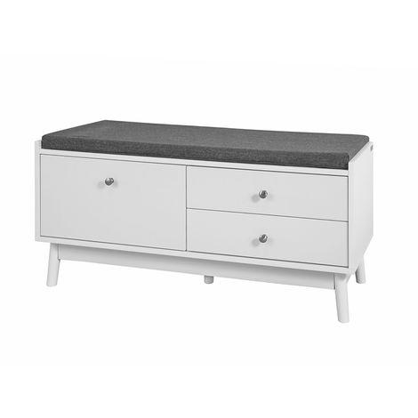 Banc de Rangement meuble d'entrée avec coussin rembourré et 3 tiroirs FSR56-W SoBuy®