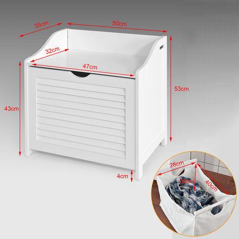 Banc de rangement Panier à linge avec sac amovible - Charge maximum: 90kg SoBuy® FSR40-W