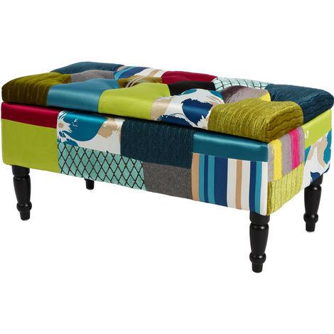 Banc de rangement patchwork textile, longueur 80 cm
