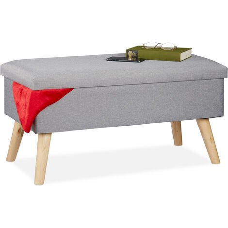 Banc de rangement, rembourré, pieds bois, banquette , coffre avec revêtement tissu HxLxP:39 x77x 39cm,gris pal