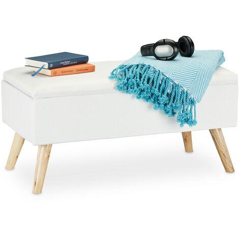 Banc de rangement, rembourré, pieds en bois, coffre avec revêtement en tissu 39,5 x 79,5 x 39 cm, blanc