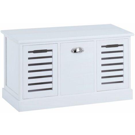 Banc de rangement TRIENT meuble bas coffre avec assise coussin rembourré et 3 caisses, en MDF et bois de paulownia blanc