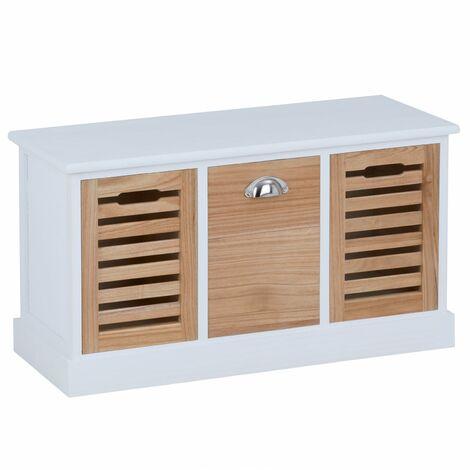 Banc de rangement TRIENT meuble bas coffre avec assise coussin rembourré et 3 caisses, en MDF et bois de paulownia blanc/naturel