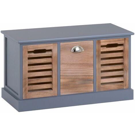 Banc de rangement TRIENT meuble bas coffre avec assise coussin rembourré et 3 caisses, en MDF et bois de paulownia gris/naturel