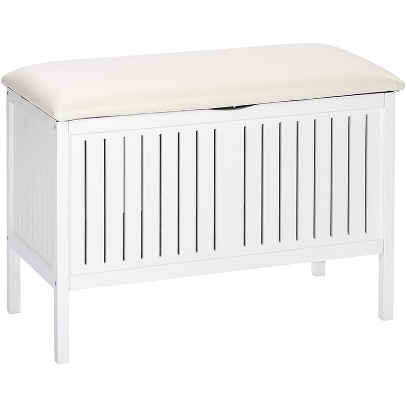 Banc de salle de bain en bois coloris Blanc Dim : L 78 x H 55 x P 39 cm PEGANE