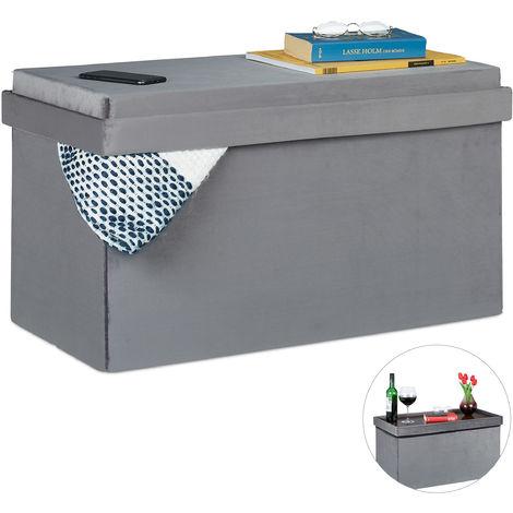 Banc de velours avec espace de rangement, tablette couvercle, pliable, Coffre , Banc, HlP 42x76x38cm gris
