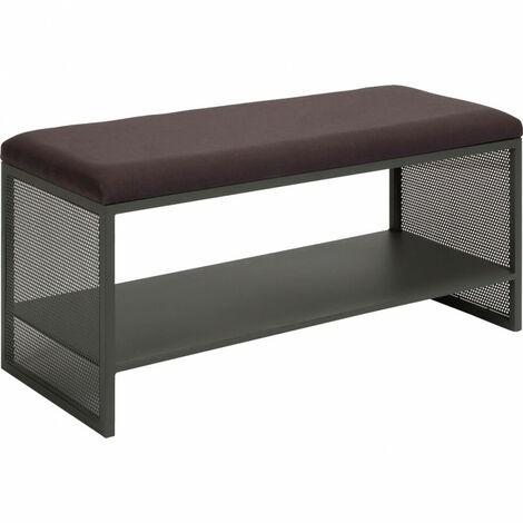Banc d'entrée en métal avec rangement et coussin d'assise - LONE 6986 - Vert