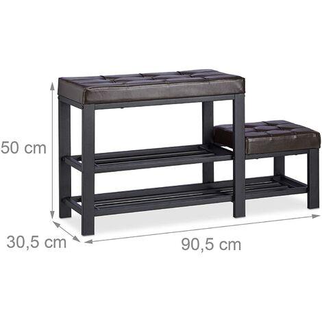 Banc d'entrée meuble chaussure banquette tabouret 90,5 cm marron - Marron