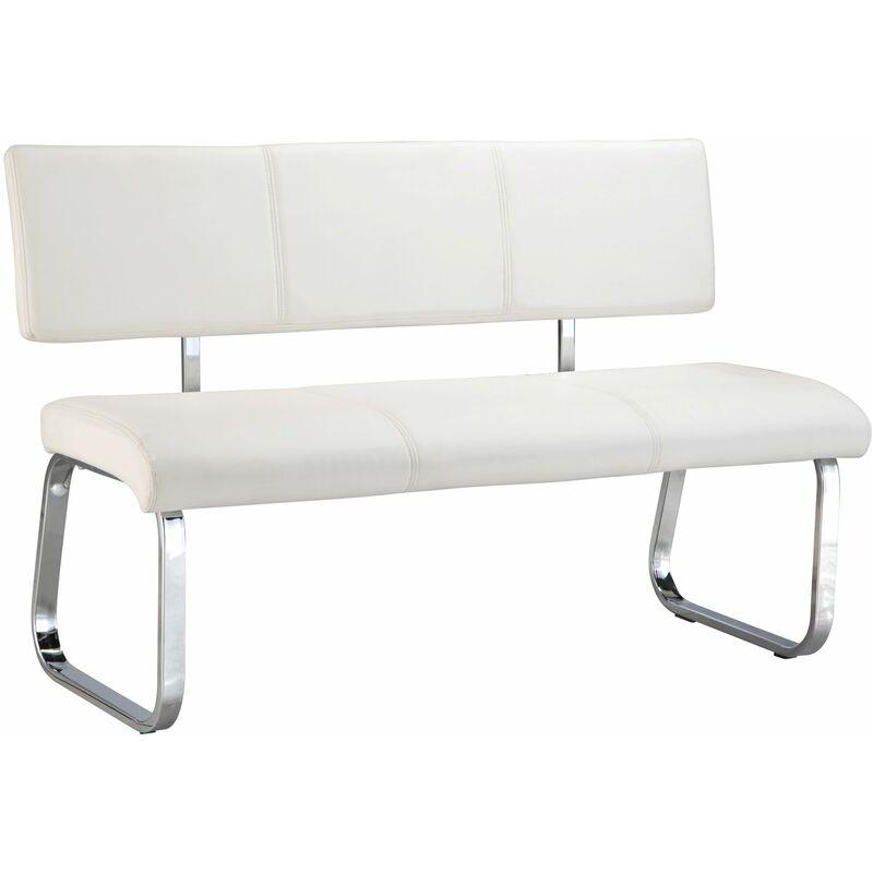 Banc design VILAS siège avec 3 places, banquette au piètement chromé et dossier au revêtement synthétique blanc
