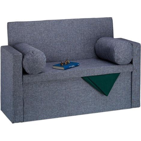 Banc dossier 2 places banquette coffre de rangement pliable assise pratique pliant HxlxP: 75x115x47 cm, gris