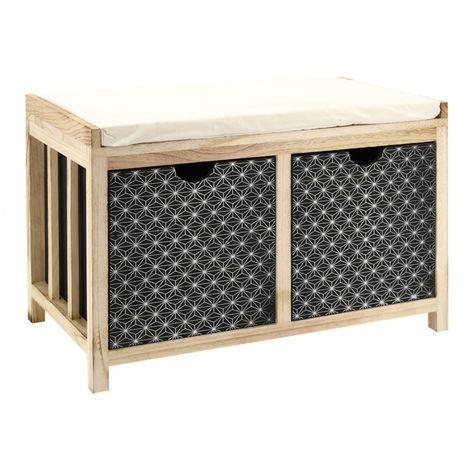 Banc en bois avec coussin - 64 x 34 x 42 cm -PEGANE-
