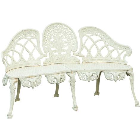 Banc en fonte de style Art Nouveau finition blanche patinée L130xPR50xH82 cm