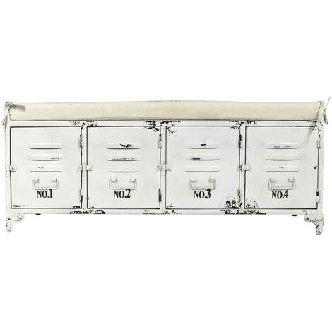 Banc industriel métal blanc, coussin beige, 4 portes rangement - Blanc vieilli