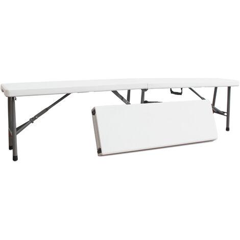 Banc Pliant Transportable, Banc en Plastique Robuste, 183 x 43 x 30 cm, Blanc, Pliable en deux, Pack de 2, Nombre de places: 2 à 4 personnes par banc