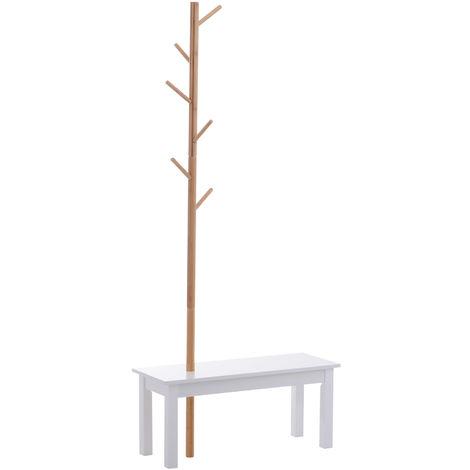Banc porte-manteaux 2 en 1 design contemporain cosy dim. 80L x 30l x 180H cm MDF blanc bois massif bambou