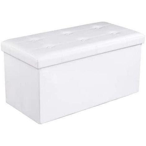 Banc pouf banquette de rangement coffre 80 litres blanc - Blanc