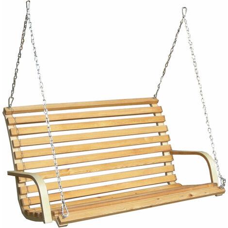 banc pour Balancelle de porche | en bois de mélèze | pour 2 personnes | incl chaînes et crochets robustes | pour l´intérieur de la maison et le jardin | conçu pour être accroché dans un support (non compris)