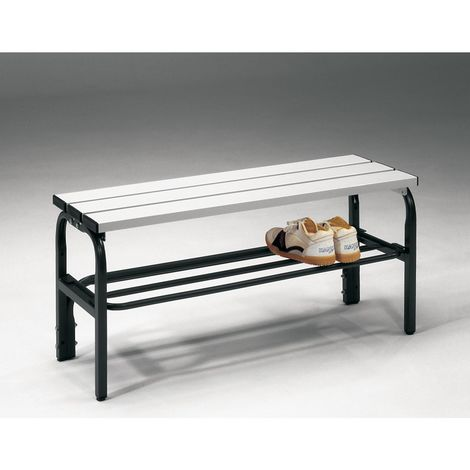Banc pour vestiaire en acier, pour environnements humides - h x p 450 x 330 mm - L 1015 mm, avec grille pour chaussures,