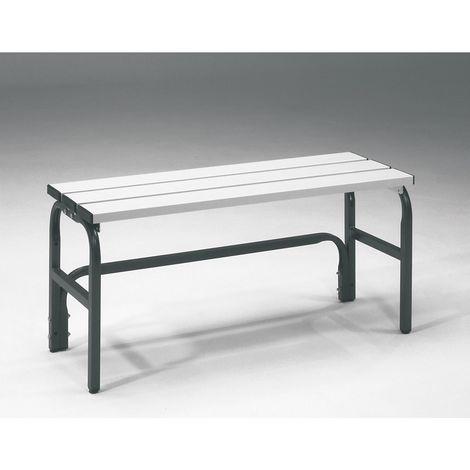 Banc pour vestiaire en acier, pour environnements humides - h x p 450 x 330 mm - L 1015 mm, sans grille pour chaussures,
