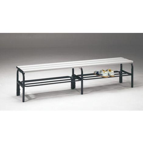 Banc pour vestiaire en acier, pour environnements humides - h x p 450 x 330 mm - L 1500 mm, avec grille pour chaussures,