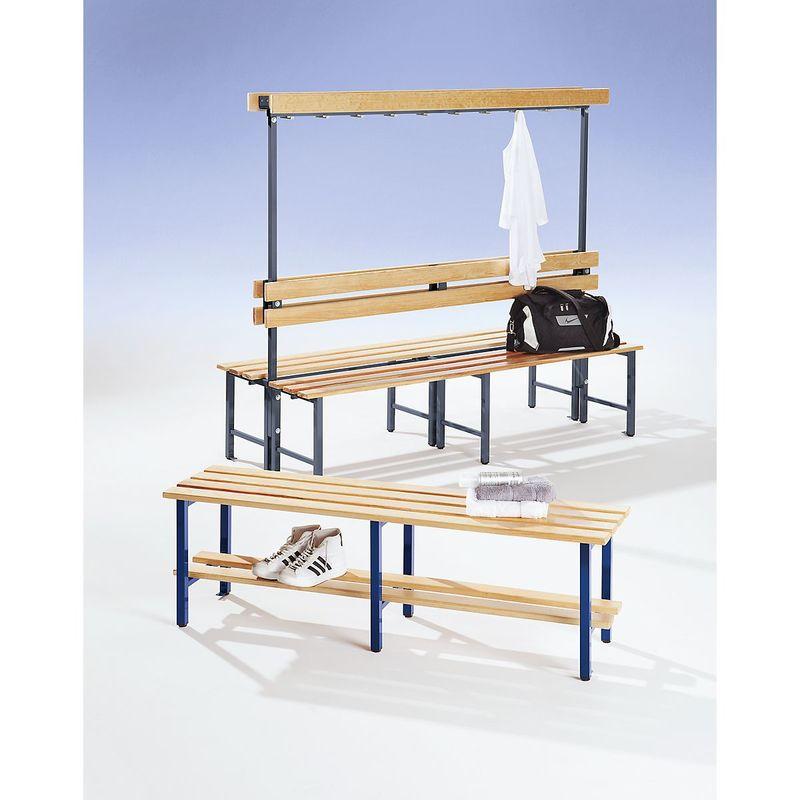 Certeo - Banc pour vestiaires avec lattes en bois et rangée de patères - avec grille pour chaussures, simple face, longueur 1500 - Col. dossier: