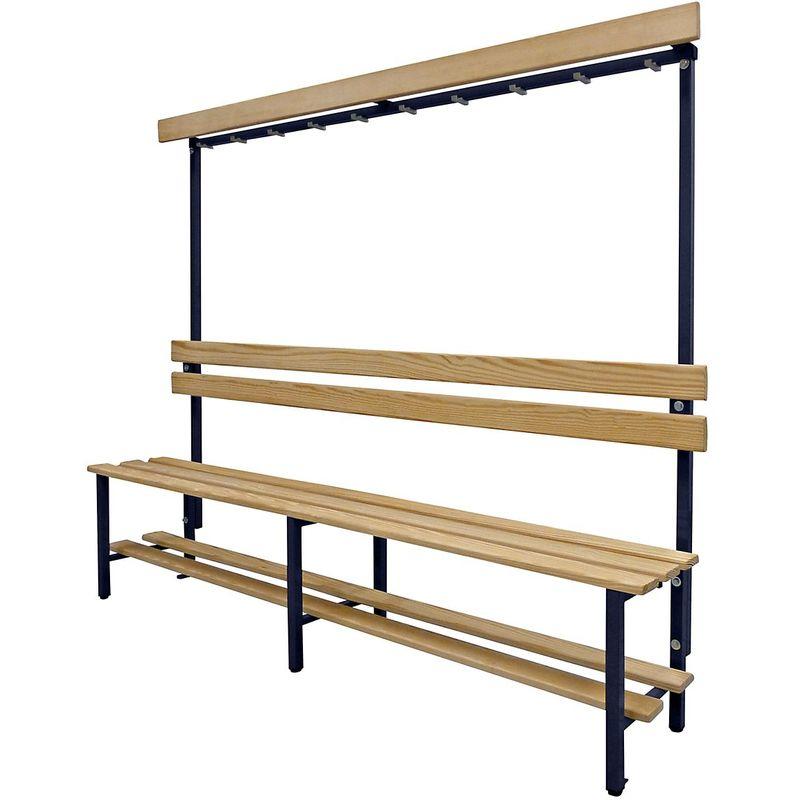 Certeo - Banc pour vestiaires avec lattes en bois et rangée de patères - avec grille pour chaussures, simple face, longueur 2000 - Col. dossier: