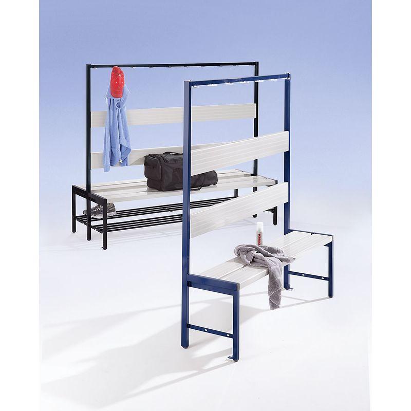 Banc pour vestiaires avec lattes en plastique et rangée de patères - sans grille pour chaussures, simple face, 2000 mm, - Col.dossier: gris clair