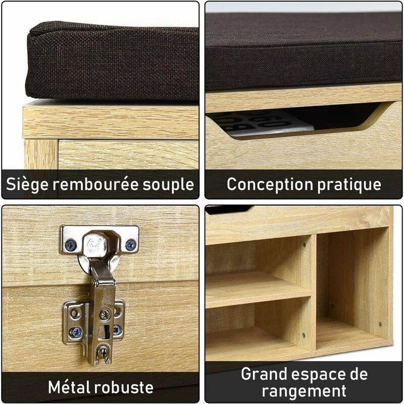 Banc Rangement De Meuble A Chaussure En Bois Banc Armoire A Chaussure Pour L Entree Avec Siege Coussin 104 X 30 X 48 Cm