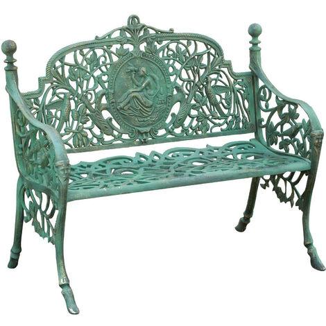 Banc realisé en Art Nouveau finition verte vieillie L105xPR43xH90 cm