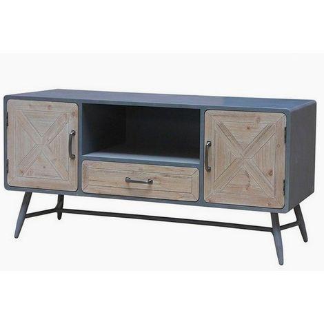 grande vente f88dc 20668 Banc TV Bois d'épicéa Fer (120 X 43 x 58 cm)