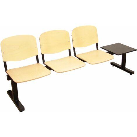 Bancada de espera de cinco plazas y estructura de hierro en color negro Piqueras y Crespo Modelo Albatana Asiento y respaldo en PVC