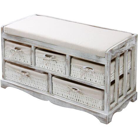 Banco arcón cestas cómoda estanteria de madera cajonera almacenamiento blanco