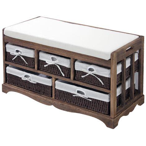 Banco arcón cestas cómoda estanteria de madera cajonera almacenamiento marrón
