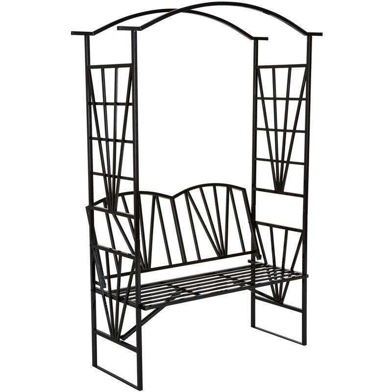 Banco con arco de metal para enredaderas y rosales - arco para flores con banco, arco de jardín metálico elegante con asiento, soporte para planta