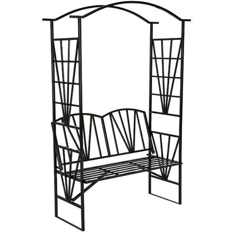 Banco con arco de metal para enredaderas y rosales - arco para flores con banco, arco de jardín metálico elegante con asiento, soporte para planta trepadora - negro