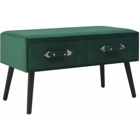 Banco con cajones terciopelo verde 80 cm - Verde
