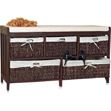 banco con cestas banco cojín banco de madera de sauce banco cómoda