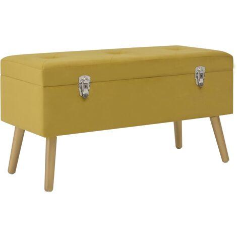Banco con compartimento 80 cm color mostaza de terciopelo
