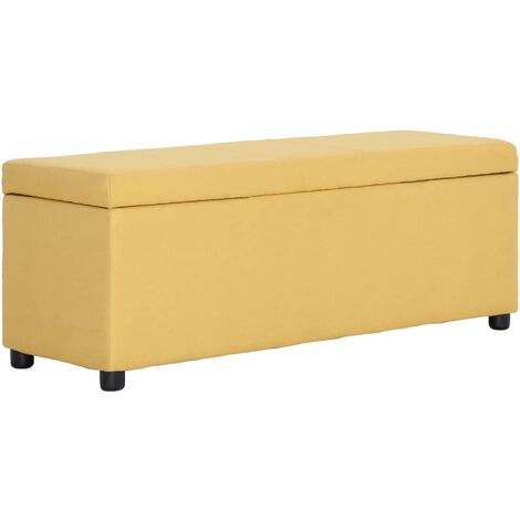 Banco con espacio de almacenaje 116 cm poliéster amarillo