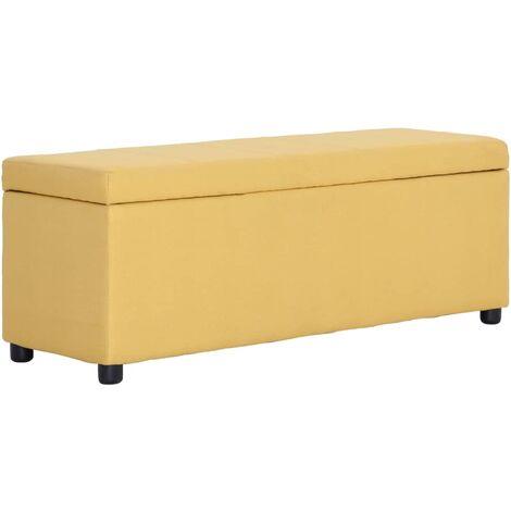 Banco con espacio de almacenaje 116 cm poliester amarillo