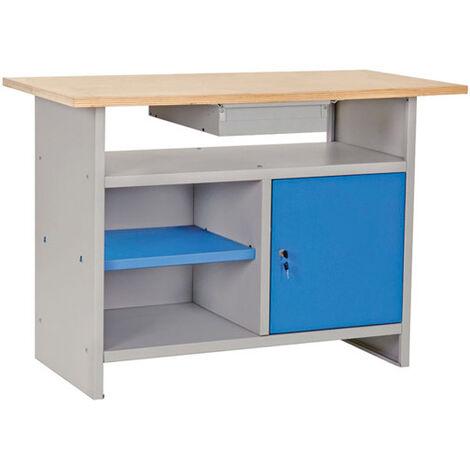 Banco da lavoro con PIANO IN LEGNO e CASSETTO 120x60xh80 cm
