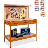 Banco da lavoro tavolo con pannello e cassetto per officina MAX 120x60x150cm